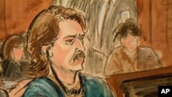 In this courtroom sketch, former Soviet military officer Viktor Bout is shown in Federal Court Friday Jan. 21, 2011 in New York.
