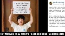 Nhà hoạt động Nguyễn Thúy Hạnh phản đối Luật An ninh mạng