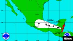 Trayectoria esperada del huracán Earl para las próximas horas.