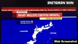 Đài Truyền hình Nhật Bản NHK đưa tin sóng thần ở Fukushima ngày 21/11/2016.