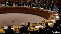 Perwakilan Rusia dan Bolivia memberikan suara dalam pemungutan suara di DK PBB hari Kamis (16/11).