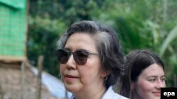 Yanghee Lee (C-L), the United Nations Special Rapporteur on the situation of human rights in Myanmar, at Kali Muslim village in Ponnagyun Township, Rakhine State, western Myanmar, 22 June 2016. Yanghee Lee is on her fourth visit to Myanmar and will stay from 19 June to 01 July 2016. EPA/NYUNT WIN