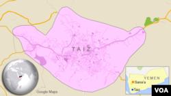 Letak kota Taiz di Yaman.