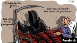 """""""Əzrayıl və pensioner"""" (Karikatura Gündüz Ağayevindir)"""
