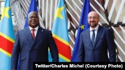 Président Félix Tshisekedi na bokutani na président ya Conseil européen Charls Michel, ministre wa yambo ya kala ya Belgique, na Bruxelles, Belgique, 30 septembre 2020. (Twitter/Charles Michel)