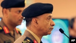 FILE - Saudi Interior Ministry spokesman Maj. Gen. Mansour al-Turki, shown listening to reporters' questions last week in Riyadh, says there have been five Islamic State-related attacks across the kingdom in recent months that have killed 15 civilians and