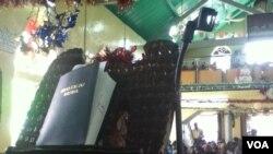 The Krio Bible at the Warren Memorial Church in Freetown.