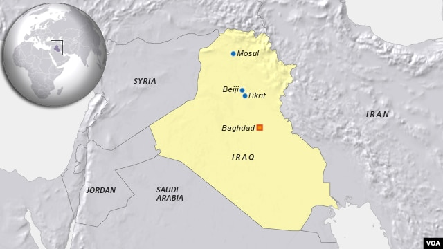 Cities Mosul, Tikrit and Beiji, Iraq