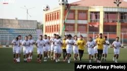 بازیکنان تیم ملی فوتبال افغانستان که برای رویارویی با تیم فلسطین دعوت شده اند