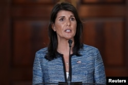 FILE - U.S. Ambassador to the United Nations Nikki Haley delivers remarks to reporters about the U.S.'s withdrawal from the U.N.'s Human Rights Council at the State Department in Washington, June 19, 2018.