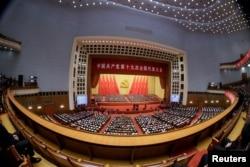 中国共产党第十九次全国代表大会闭幕式会场(2017年10月24日)。