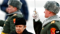 FILE - In this Feb. 18, 2008, photo, Algeria's President Abdelaziz Bouteflika attends an official welcome ceremony on his arrival to Moscow.