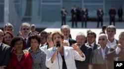 巴西总统罗塞夫在普拉纳尔托宫后发表讲话(2016年5月12日)