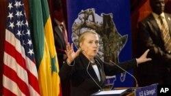 Secretary of State Hillary Rodham Clinton speaks at the University of Cheikh Anta Diop in Dakar, Senegal, Wednesday, Aug. 1, 2012