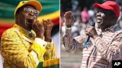 Bato RaVaMorgan Tsvangirai rakwirira VaRobert Mugabe kudare repamusoro. (AP Photos/Collage by Ntungamili Nkomo)