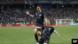 Modric celebrates Goal