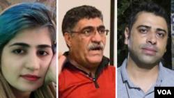 از راست: اسماعیل بخشی، علی نجاتی و سپیده قلیان