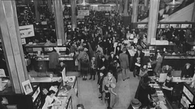 A crowded Macy's department store in New York City the week before Christmas 1941.