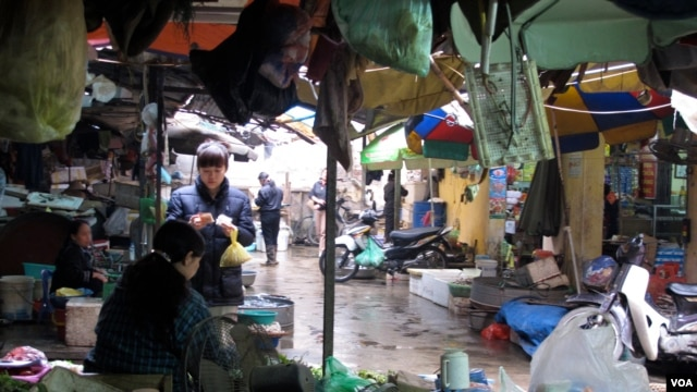 At the Hanoi market, many consumers are more interested in quality than politics, Vietnam. (M. Brown/VOA)