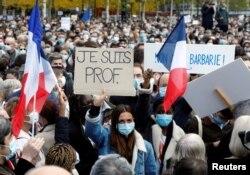 مقتول ٹیچر پاٹی کے حق میں پیرس میں مظاہرہ۔ 17 اکتوبر 2020