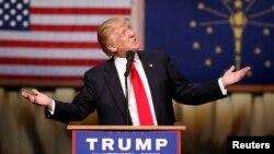 Ứng cử viên tổng thống của Đảng Cộng hòa Donald Trump phát biểu trong một sự kiện ở tiểu bang Indiana, ngày 2 tháng 5 năm 2016.