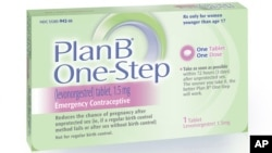 This undated image made available by Teva Women's Health shows the packaging for their Plan B One-Step [levonorgestrel]) tablet, one of the brands known as the 'morning-after pill.'