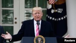 Presiden Trump di Taman Mawar, Gedung Putih, Washington DC, 21 November 2017. (Foto: dok).