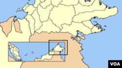 Negara bagian Sabah, Malaysia, di pesisir barat laut pulau Kalimantan.