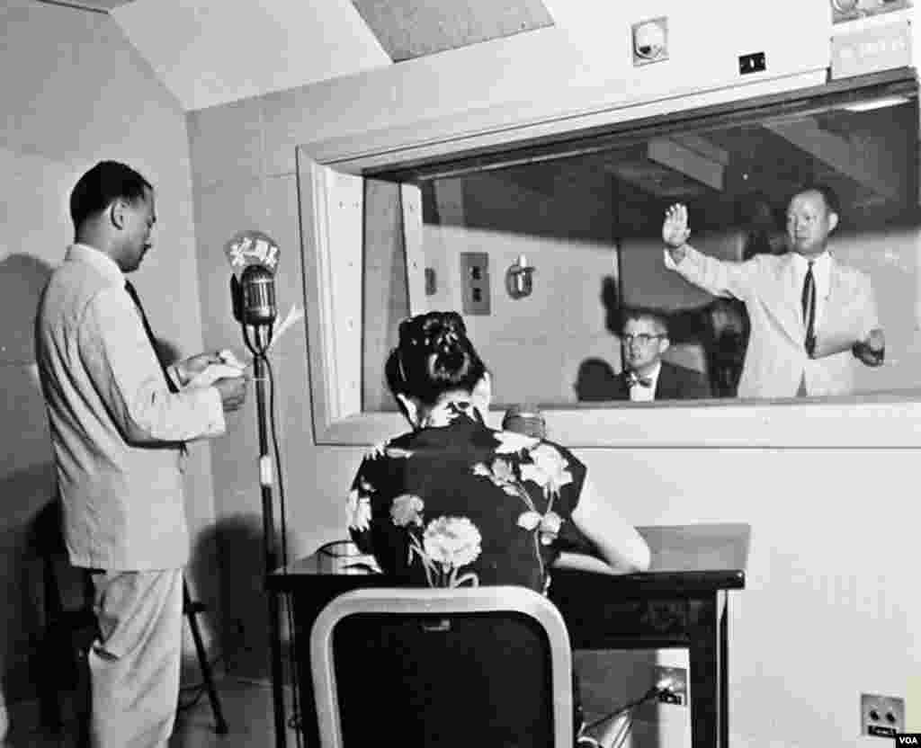 Early control room from inside a radio studio.
