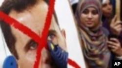 Une manifestante anti-Assad
