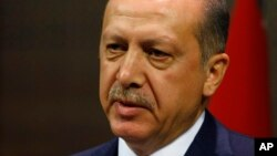 Turkey's Prime Minister Recep Tayyip Erdogan, during a press conference in Ankara, Turkey, in this July 2011 file photo.