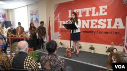 "Panggung acara peresmian ""Little Indonesia"". (Foto: VOA Indonesia)"