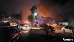 Imagem da explosão no oleoduto em Hidalgo