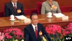 溫家寶總理做政府工作報告(資料照片)