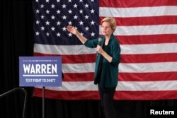 Capres AS dari partai Demokrat, Senator Elizabeth Warren di Memphis, Tennessee, 17 Maret 2019. (Foto: dok).