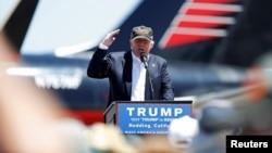 Le candidat républicain américain Donald Trump parle lors d'un meeting de campagne à Redding, en Californie, aux États-Unis, le 3 Juin 2016.