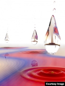 A quantum droplet -- or dropleton -- is a liquid-like particle created by light. (Brad Baxley/JILA)
