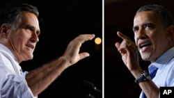 민주당 바락 오바마 미국 대통령(오른쪽)과 공화당 미트 롬니 후보.