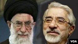 Mehdi Karroubi (kiri) dan Mir Hossein Mousavi, dua tokoh oposisi Iran yang kini mendekam dalam tahanan rumah.