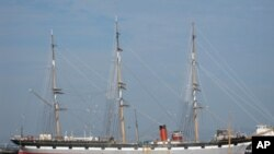 The 1886 sailing ship, The Balclutha, now anchored in California, is the site of monthly sea chantey sing-alongs.
