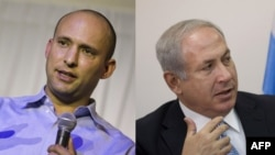 (L) Naftali Bennett, leader of the HaBayit HaYehudi, December 23, 2012, (R) Israeli Likud party leader Benjamin Netanyahu is seen during a faction meeting in the Knesset, October 27, 2008