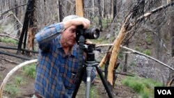 John Marshall photographs the Cascade Creek burn on the slopes of Mount Adams (Tom Banse/VOA).