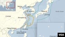 Peta Zona Pertahanan Udara yang diklaim China dan Jepang (Foto: dok).