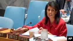 La embajadora de Estados Unidos, Nikki Haley, durante el Consejo de Seguridad de la ONU, sobre la situación en Siria, el viernes 7 de abril de 2017 en la sede de las Naciones Unidas.