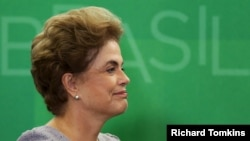 FILE - Brazil's President Dilma Rousseff is pictured at a meeting with jurists at Planalto Palace in Brasilia, March 22, 2016. On Wednesday, she assailed opponents who have accused her of using borrowed funds to mask the severity of the country's recession.
