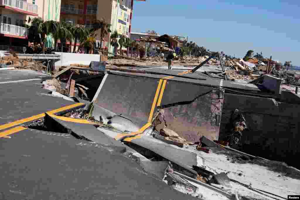 بخشی از خسارات به جامانده در پی وقوع توفان مایکل در سواحل فلوریدا