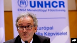 FILE - Vincent Cochetel, Director of the Bureau for Europe at the United Nations High Commissioner for Refugees, is seen at a press conference in Budapest, Hungary, Sept. 8, 2015.