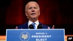 លោក Joe Biden ប្រធានាធិបតីជាប់ឆ្នោតរបស់អាមេរិក ថ្លែងសុន្ទរកថានៅទីក្រុង Wilmington រដ្ឋ Delaware កាលពីថ្ងៃពុធទី២៥ ខែវិច្ឆិកា ឆ្នាំ២០២០ មួយថ្ងៃមុនបុណ្យ Thanksgiving។