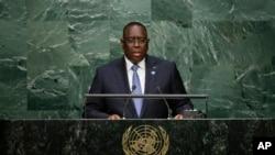 Macky Sall, président du Sénégal, lors de la 70e sessions de l'assemblée générale de l'ONU, le 28 septembre 2015. (AP Photo/Frank Franklin II)