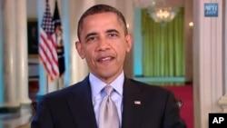 图为奥巴马总统4月21日发表每周例行讲话